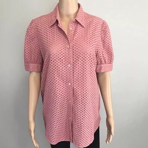 Krizia jeans Italy pink eyelet button down shirt